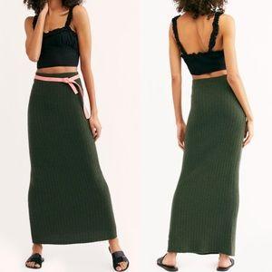Free People Maxi Skirt Green Cashmere Horizon